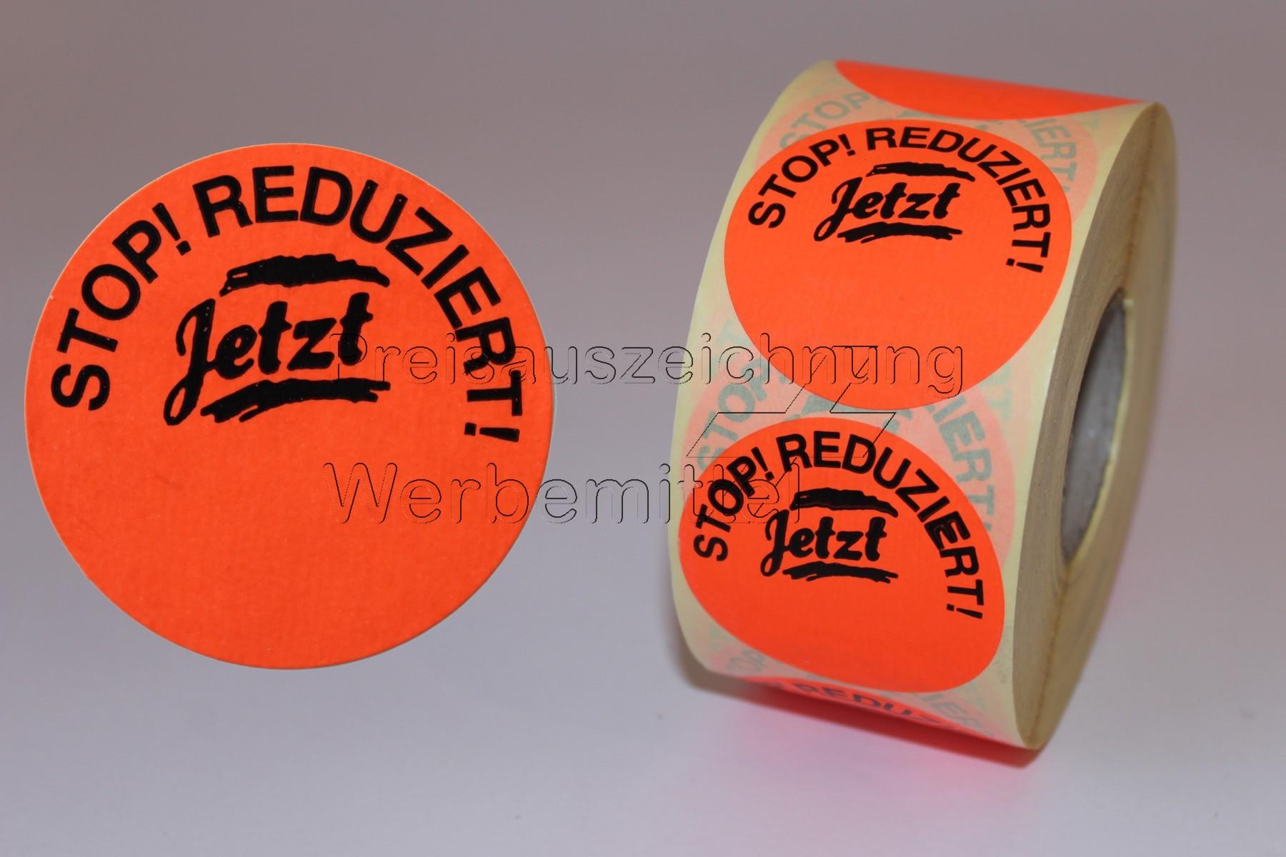leuchtrot Aufdruck /'Stop!Reduziert/' 1000 Aktionsetiketten 32mm Rundetiketten